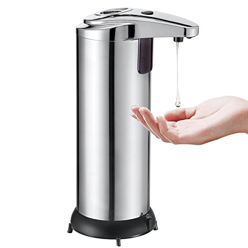 Soap Dispenser,Automatic Hand Free Fingerprint Resistant Touchless Soap Dispenser,IR Infrared Motion Sensor Stainless Steel Dish Soap Dispenser with Waterproof Base for Kitchen and Bathroom - Sliver