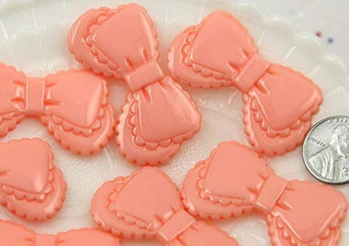 45mm Lacy Peach Pink Lolita Ribbon Scalloped Bow Flatback Resin Cabochons - 6 pcs Set,- -