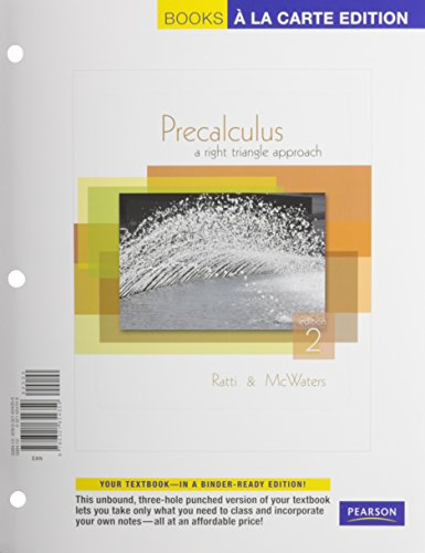 Precalculus: A Right Triangle Approach, A La Carte Plus MyMathLab -- Access Card Package (2nd Edition)