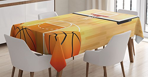 Ambesonne Sports Decor Tablecloth, Basketball Court, Balls and Hoop Madness Rim Court Parquet Hardwood, Dining Room Kitchen Rectangular Table Cover, 60 X 84 Inches