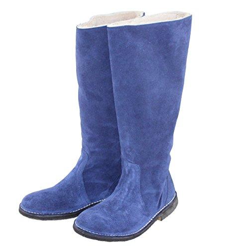 Delacroix Stiefel Shoe Leder Lammfell Winterstiefel Damenstiefel 2202 hellblau/weiß