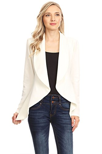 Instar Mode Women's Solid Formal Style Open Front Long Sleeves Blazer - Made in USA Ivory M