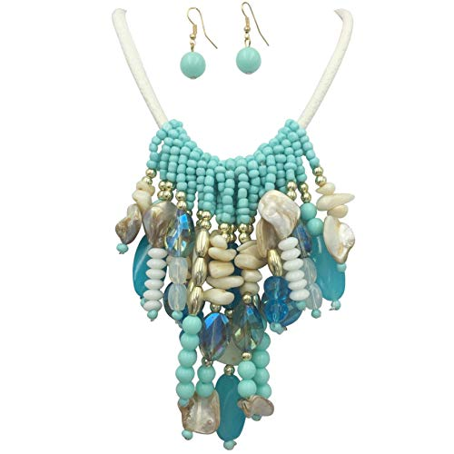 (Gypsy Jewels Multi Color Beach Look Nautical Boutique Style Statement Necklace & Dangle Earrings Set (Aqua Blue White Drop Shell))