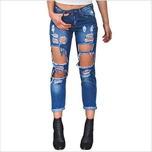 Jeans Elastique bleu Dchirs XL Taille P Femme fonc Casual Denim Pantalon Haute Longue S Prettyia vgtEwqEO