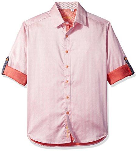 (Robert Graham Men's Canton Classic Fit Sport Shirt, Salmon, XLarge)