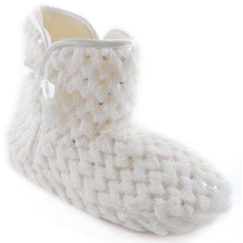 à femme paillettes Universels type botte Crème Textiles Chaussons ER6wxwq