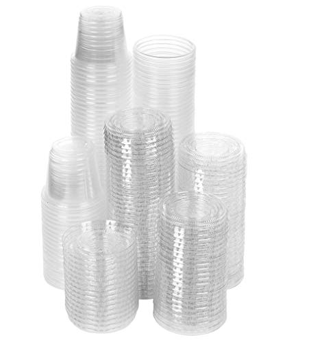 TashiBox 1 oz disposable portion cups with lids, set of 200 - jello shot cups, souffle cups, sampling cups, sauce cups