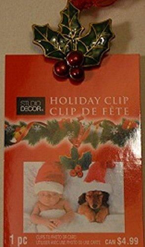 Holly & Berries Photo Clip Christmas Tree Ornament