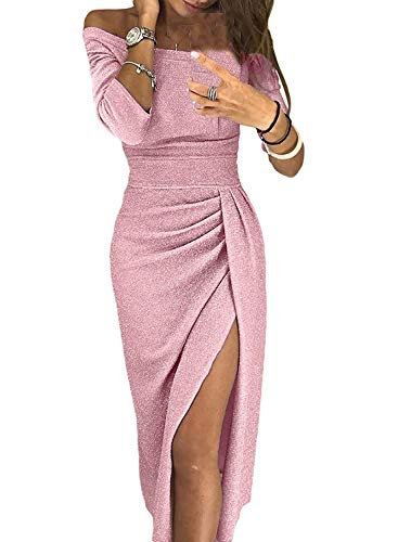 3/4 Sleeve Metallic Knit Solid Shiny Midi Dress for Women Elegant Sexy Off Shoulder Side High Slit Ruched Party Club Dress Pink M