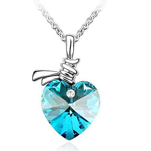 Buy habors white gold plated ocean blue austrian crystal beautiful buy habors white gold plated ocean blue austrian crystal beautiful heart pendant for women online at low prices in india amazon jewellery store amazon mozeypictures Image collections