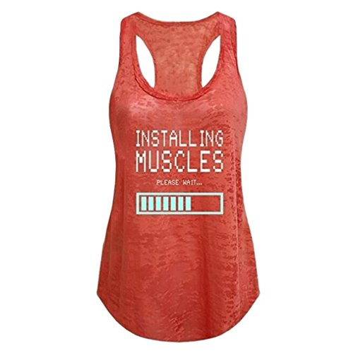 Flow Sleeveless - Women Sleeveless Tank Top Racerback Letter Print Casual Tshirts Blouse Vest (Orange, S)