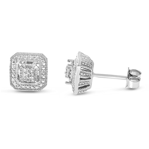 Sterling Silver White Diamond Square Shape Stud (Diamond Stud Square Earrings)