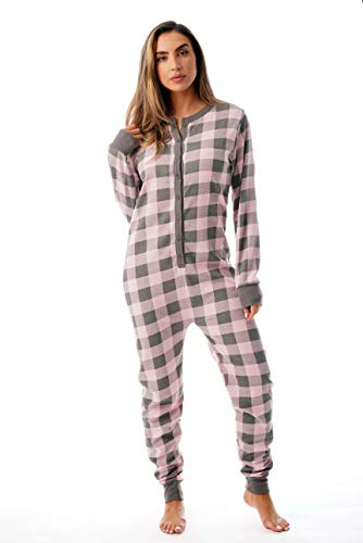 #followme Women's Printed Henley Thermal Onesie 6744-10195-PNK-S