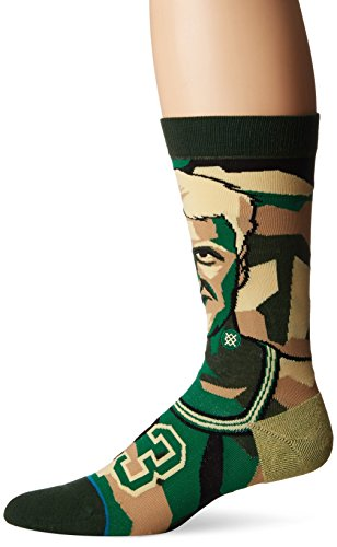 Stand Men's Mosaic Bird Crew Sock, Green, L