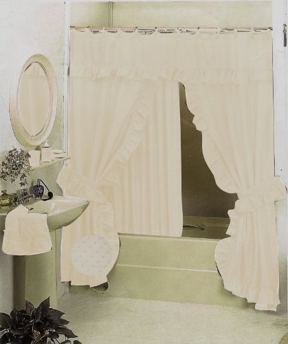 New Double Swag Fabric Shower Curtain Set Beige Bone Valance