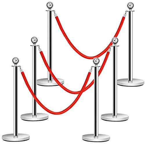 Goplus 6Pcs Stanchion Set Round Top Polished Stainless Crowd Control Barrier Posts Queue Pole with Velvet Ropes -