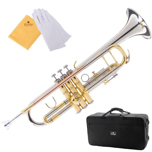 Cecilio 3Series TT-380CN Nickel Plated Intermediate Double-Braced Bb Trumpet with Monel Valves + Case, Mouthpiece and Accessories by Cecilio