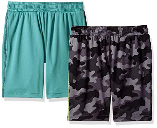 Spotted Zebra Toddler Boys' 2-Pack Active Mesh Shorts, Grey Camo/Teal, 4T