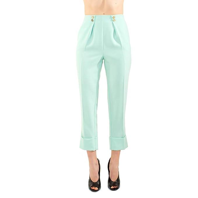 2b04c47ab5 Elisabetta Franchi Pantalone Donna Pantalone con pince. Colore  Acquamarine.: Amazon.it: Abbigliamento