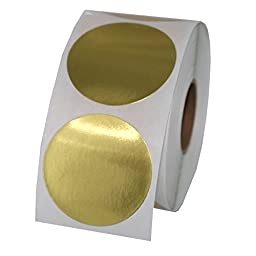 Gold Foil Color Coding Inventory Labeling Dot Labels / Stickers - 1.5 Inch Round Labels 500 Stickers Per Roll