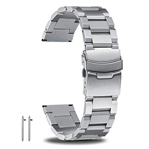 22mm Watch Band Quick Release Stainless Steel Watch Bands for Men Luxury Metal Watch Band Replacement Silver Large Wrist Watch Band Metallic Watch Strap Bracelet with Double Safe Folding - Bracelet Watch Double Strap