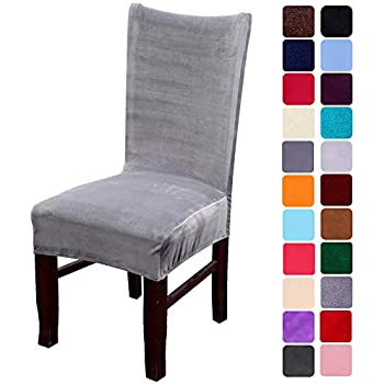 smiry Velvet Stretch Dining Room Chair Covers Soft Removable Dining Chair Slipcovers Set of 2, Silver Grey
