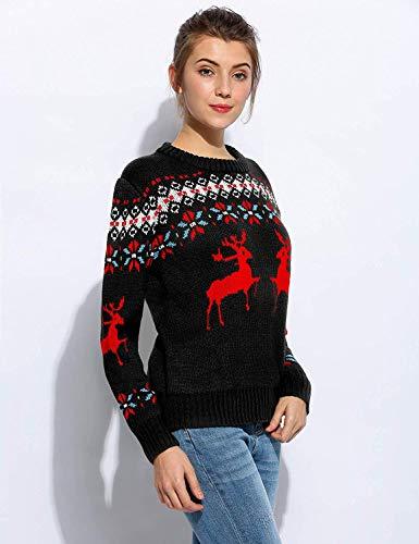 Eleganti Felpa Natale Reindeer Donna Festivo Lunga Chic Schwarz Jumper Casual Autunno Di Collo Fashion Shirt Rotondo Invernali Irinay Manica Maglia 7qFpd7w