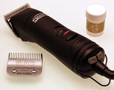 Andis AGRV Power Groom + 5 speed Dog Grooming Clipper with size 10 & 5FC...