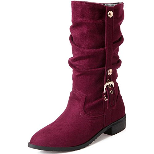 Shoes Slouch Heels Mid Stretch Red COOLCEPT Boots Fashion Low Classic Women qgU6O