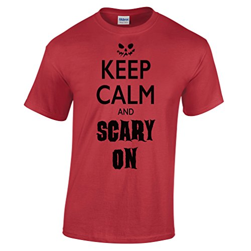 Keep Calm and Scary On Funny Scary Halloween Costume Pumpkin Candy Mens T-Shirt (Funny College Halloween Costume Ideas Men)