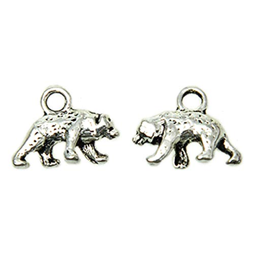 Monrocco 50 PCS Polar Bear Charm Animal Charm DIY Vintage Charms Findings Pendant for Necklace Bracelet Jewelry Making and ()
