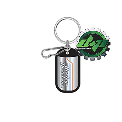 Diesel Power Plus Harley Davidson Keychain Vintage Stripe Motorcycle Rubber Edged Dog tag Key