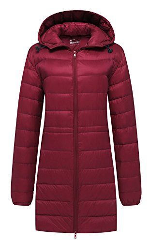 Wantdo Women's Hooded Packable Ultra Light Weight Down Coat, Wine Red2017, X-Large