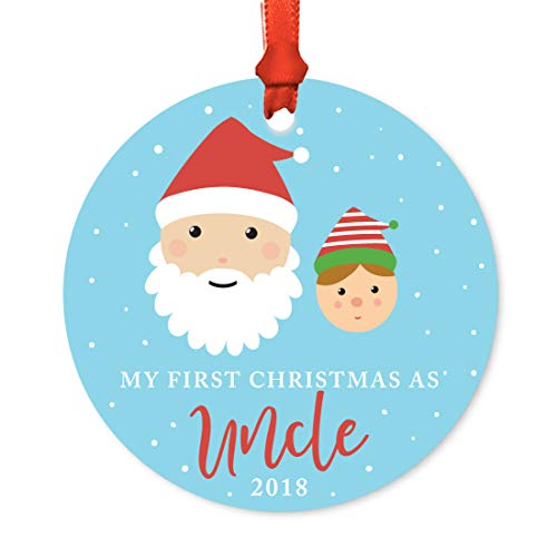 Andaz Press Family Round Metal Christmas Ornament, My First Christmas As Uncle 2018, Santa and Mrs. Claus with Elf, 1-Pack, Includes Ribbon and Gift Bag -  APP12128