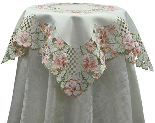 Creative Linens Embroidered Rose Daisy Floral Cutwork Tablecloth 33