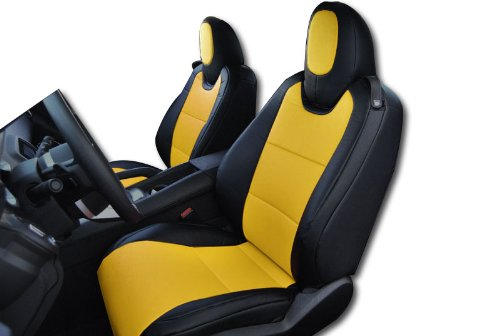 2010-2015 Chevy Camaro Black/Yellow Artificial leather Custom fit Front seat cover