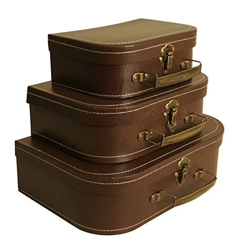 Wald Imports Brown Paperboard Decorative Storage Paperboard Suitcases, Set of 3