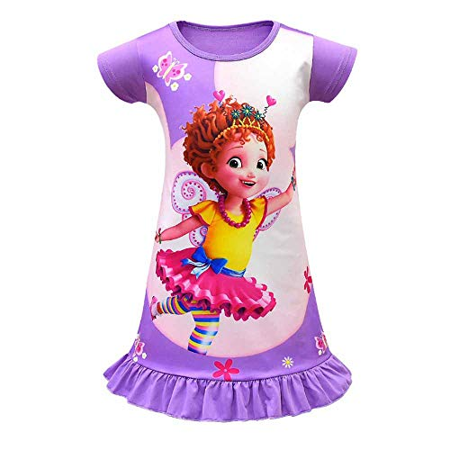 Girls Fancy Nancy Pajama Printed Princess Dress Nightgown Sleepwear for Toddler Purple]()
