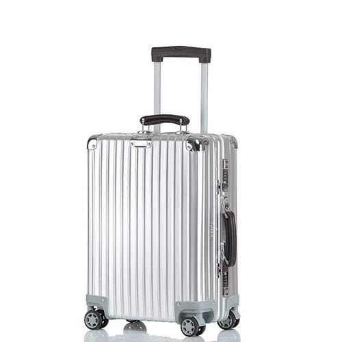 スーツケース (RXO)復古風 アルミ合金ボディ 超軽量 マット仕上げ 耐食耐久 出張旅行 機内持ち込み可 キャリーケース TSAロック 静音8輪 日本語取扱説明書防塵カバー付き B07MP51P4F シルバー S