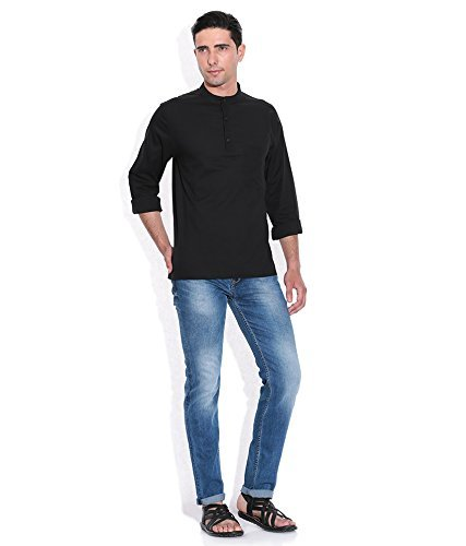 Royal Kurta Men's Summer Wear Fine Cotton Blended Straight Kurta 44 Black