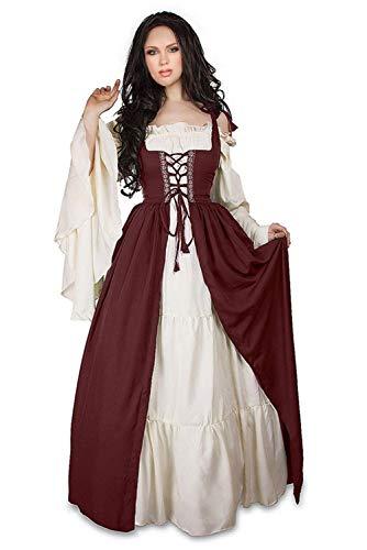 Hao Kaos Women's Medieval Vintage Costume Gothic Renaissance Fancy Dress Victorian Retro Gown (XXL) -