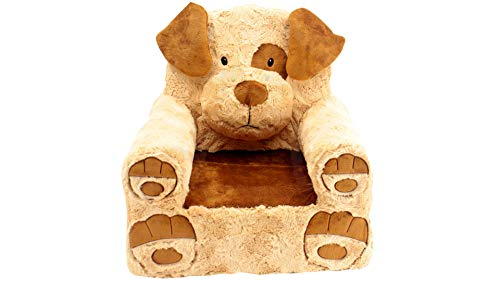 (Sweet Seats Sturdy Soft Cozy and Adorable Plush Dog Chair in Brown with Sweet Embroidered Details on The Face Hands and)