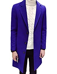 Ouye Men's Single Breasted Casual Long Trench Coat