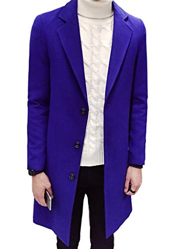 OUYE Men's Single Breasted Casual Long Trench Coat 4X-Large Sapphire (Blue Trench Coat)