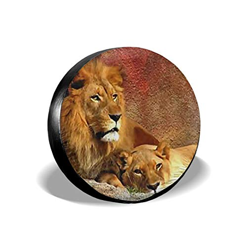 Car Tire Cover Sunscreen Protective Cover African Savannah Lion Water Proof Universal Spare Wheel Tire Cover Fit for Trailer, RV, SUV and Various Vehicles 14