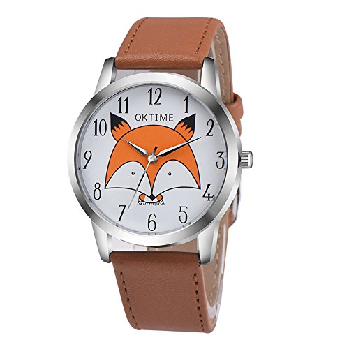 Cute Cartoon Fox Watches for Girls - Arabic Numerals Easy Reader Leather Watches for Kids, Brown ()