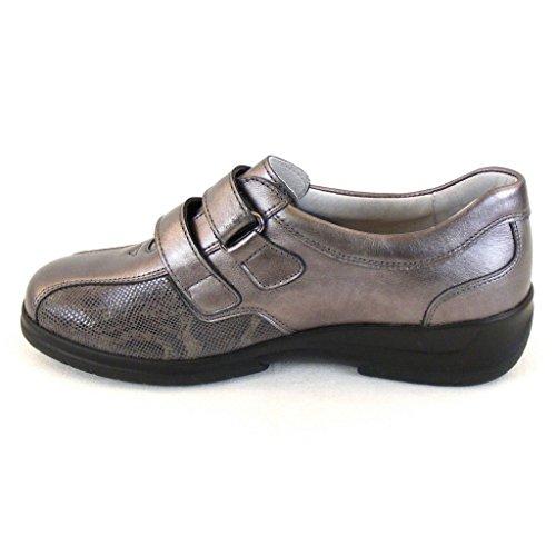 Stuppy Damen Schuhe Halbschuhe Leder Stretch Taupe 11154 Fußbett Wechselfußbett