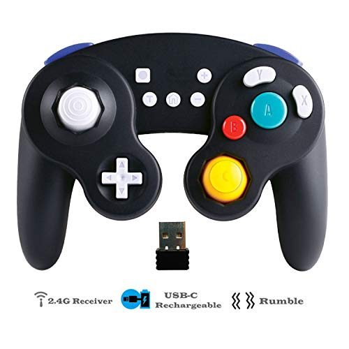 Exlene® Wireless Controller Gamepad for Nintendo Switch, Compatible with PC / PS3, Gamecube Style,Rechargeable, Motion Controls, Rumble, Turbo (Black)