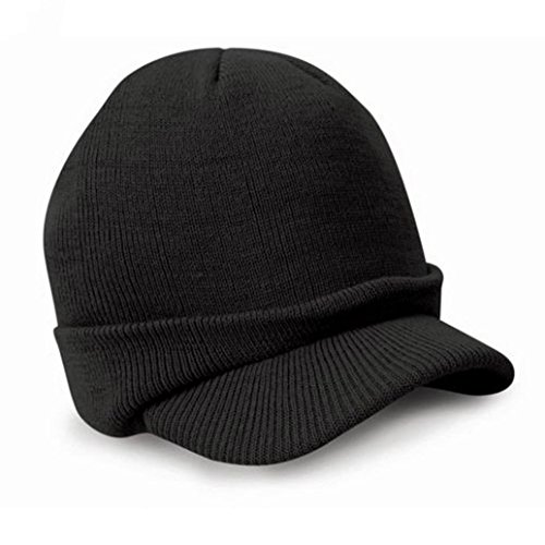 Price comparison product image DEESEE(TM) Beanie Hat Esco Peaked Army Beanie Hat Warm Wooly Winter Mens Ladies Cadet Ski Cap (Black)
