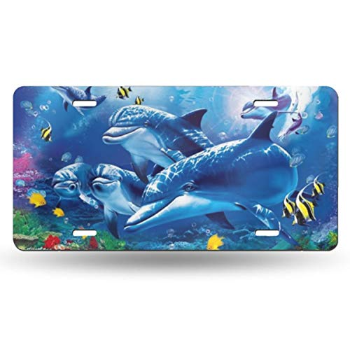 XRUUIN Blue Sea World Coral Dolphin Customize Your Name Your State Personality Car License, Your Name Decoration Metal License Plate, 50 States(6x12 Inch)